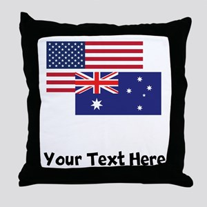 American And Australian Flag Throw Pillow